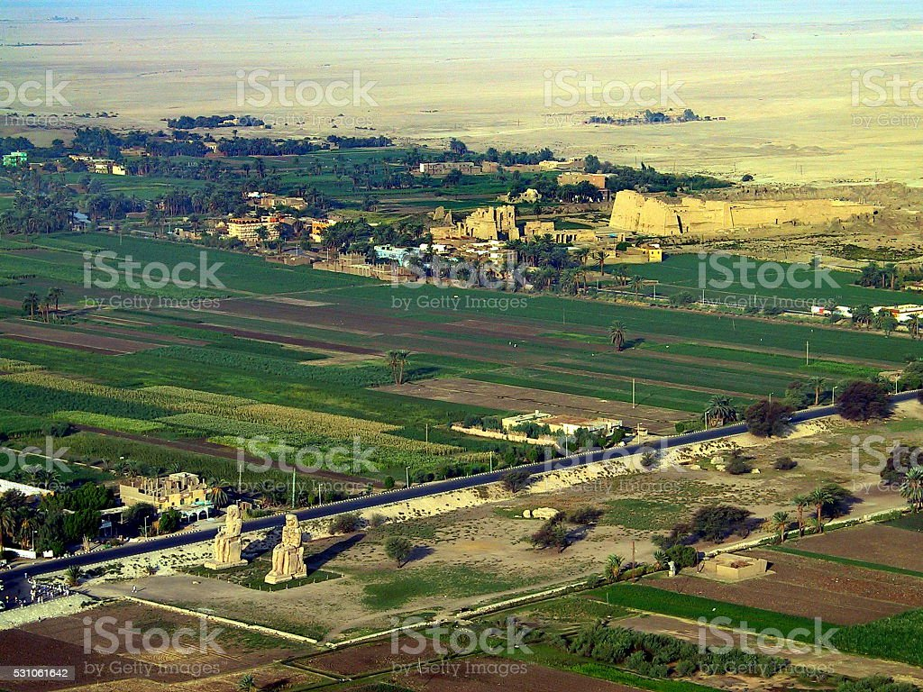 Egypt Luxor. Riding a Hot Air Balloon over the West-bank. stock photo