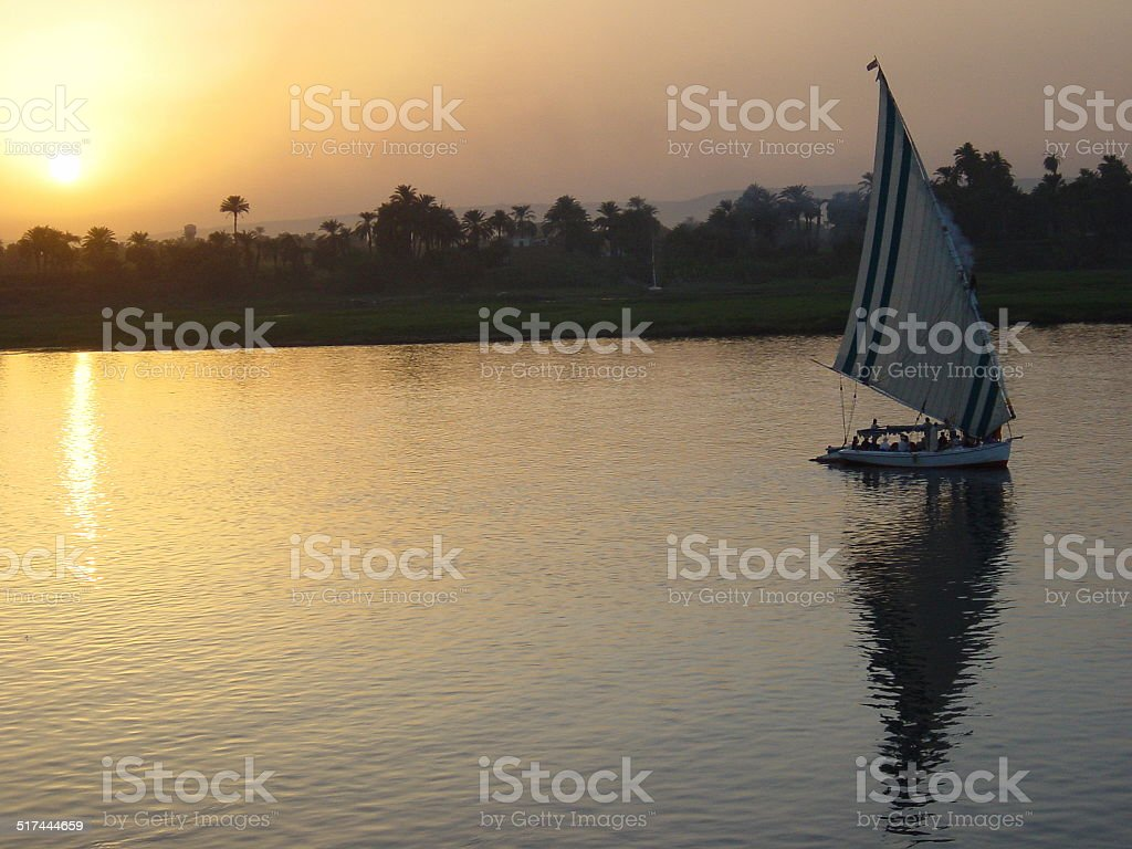 Egypt Luxor – Sunset at the River of the Gods…. stock photo