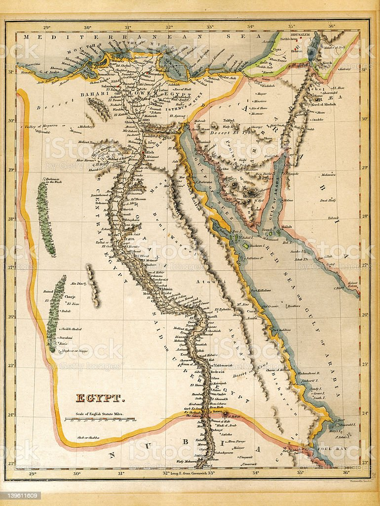 Egypt Map Printed 1845 stock photo