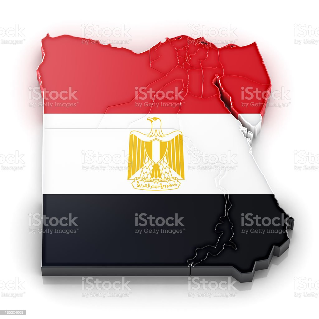 Egypt map with flag royalty-free stock photo
