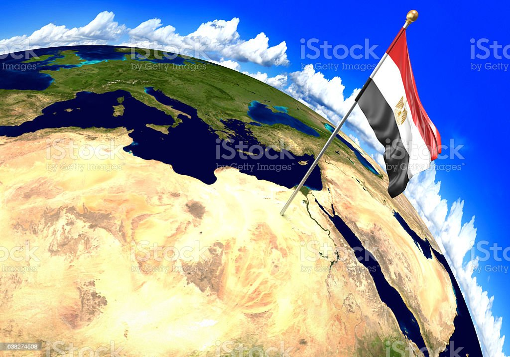 Egypt national flag marking the country location on world map stock photo