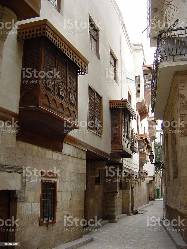 Egypt – Old Cairo, alley with traditional  Arabic architecture... stock photo