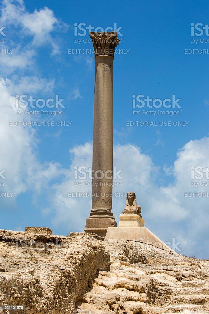 Egypt: Pompey's Pillar in Alexandria stock photo