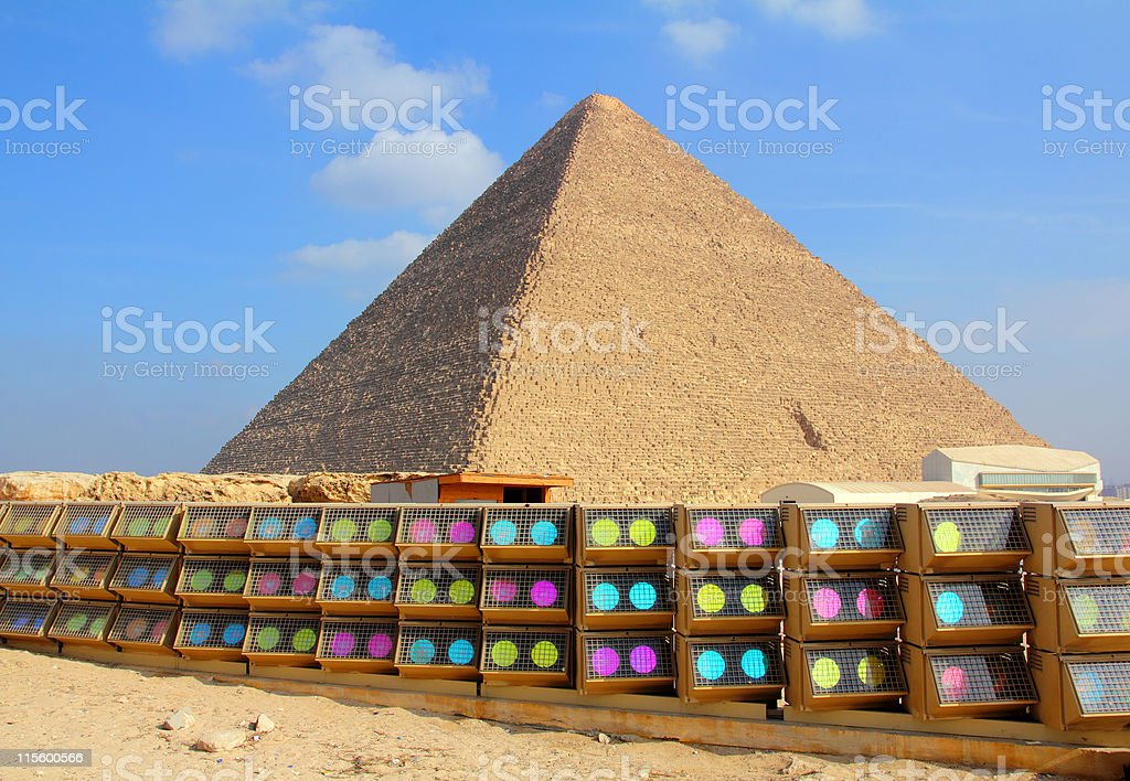 egypt pyramid and colorful spotlights royalty-free stock photo