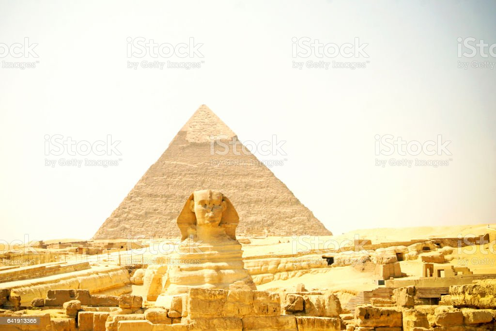 Egypt Pyramid and Sphinx stock photo