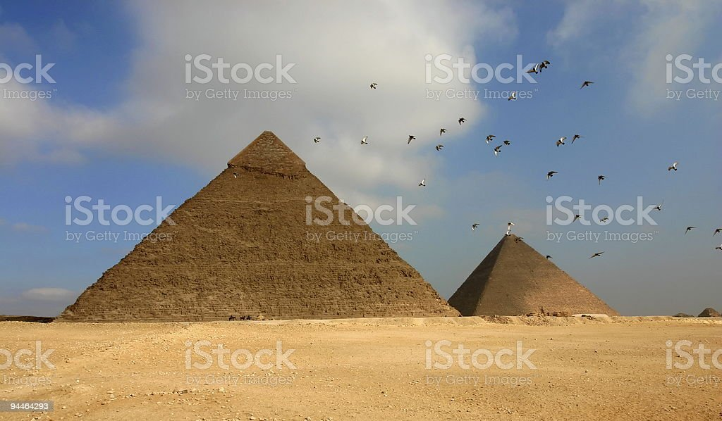Egypt pyramids and birds royalty-free stock photo