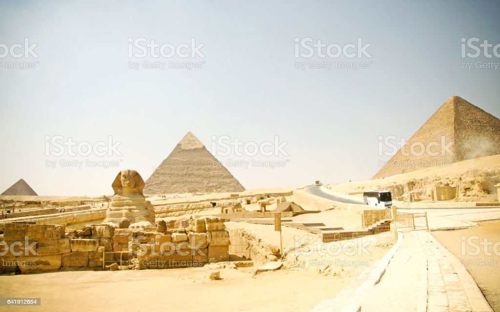 Egypt Pyramids and Sphinx stock photo