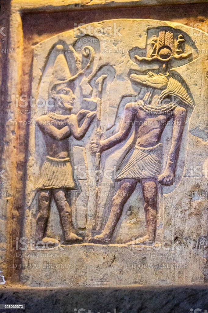Egypt: Relief Sculpture in Kom Ombo stock photo