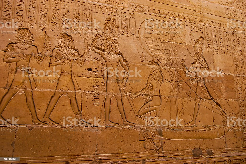 Egypt reliefs on walls in ancient temples stock photo
