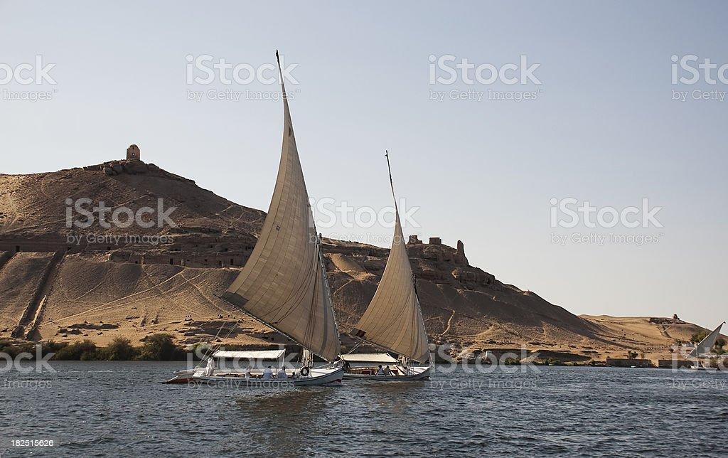 Egypt river boat stock photo