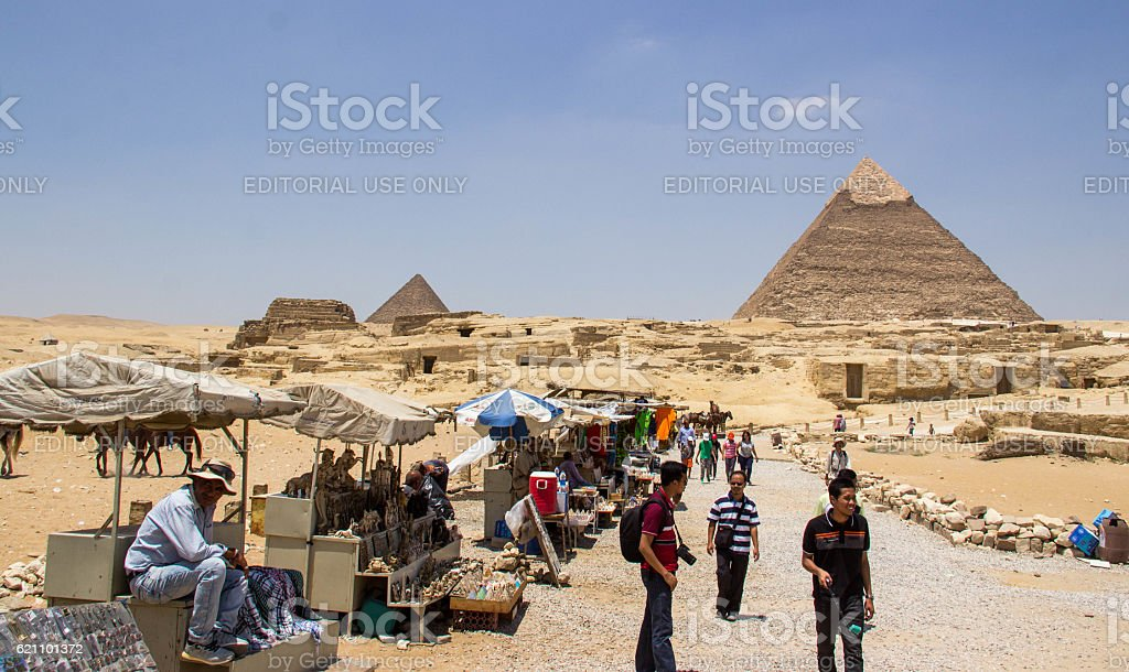 Egypt: Souvenir Stalls at Giza stock photo