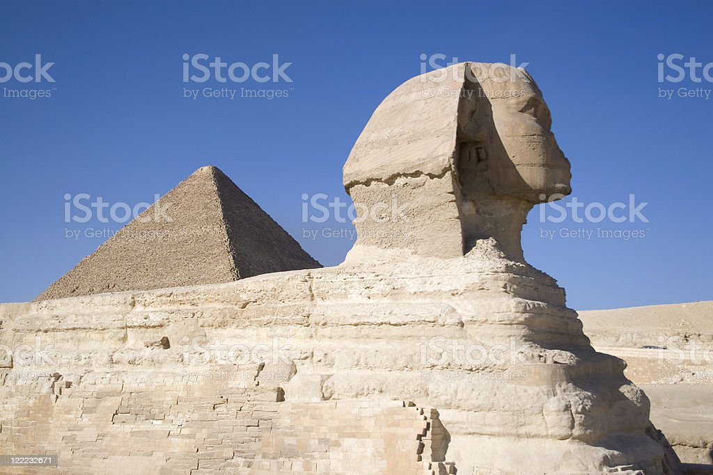 Egypt. Sphinx and the Great Pyramid of Giza royalty-free stock photo