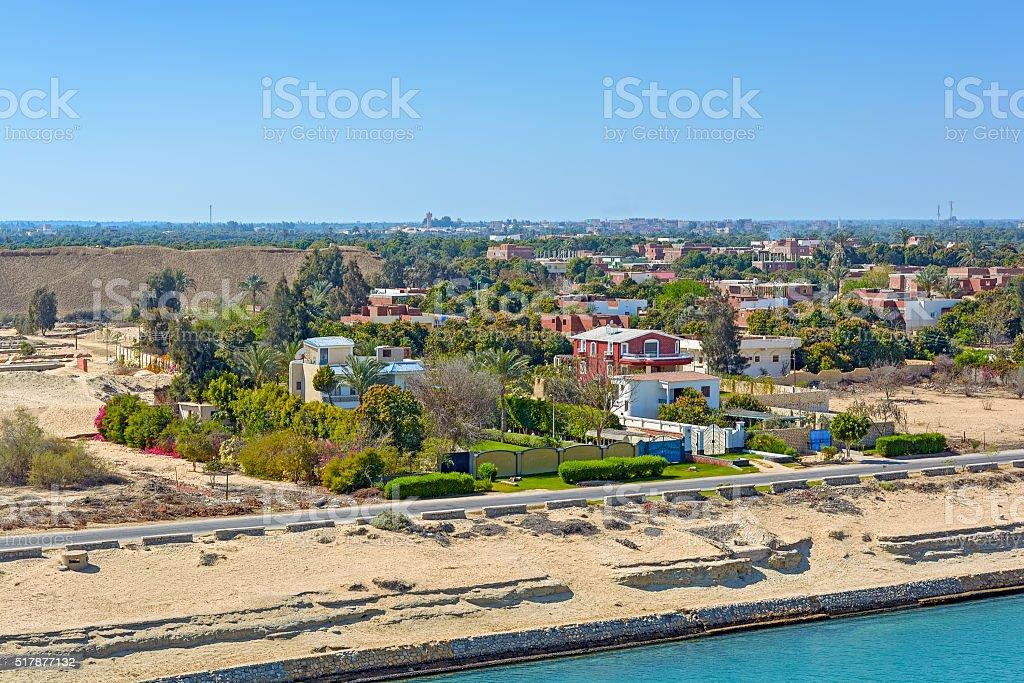 Egypt, Suez Canal shore stock photo