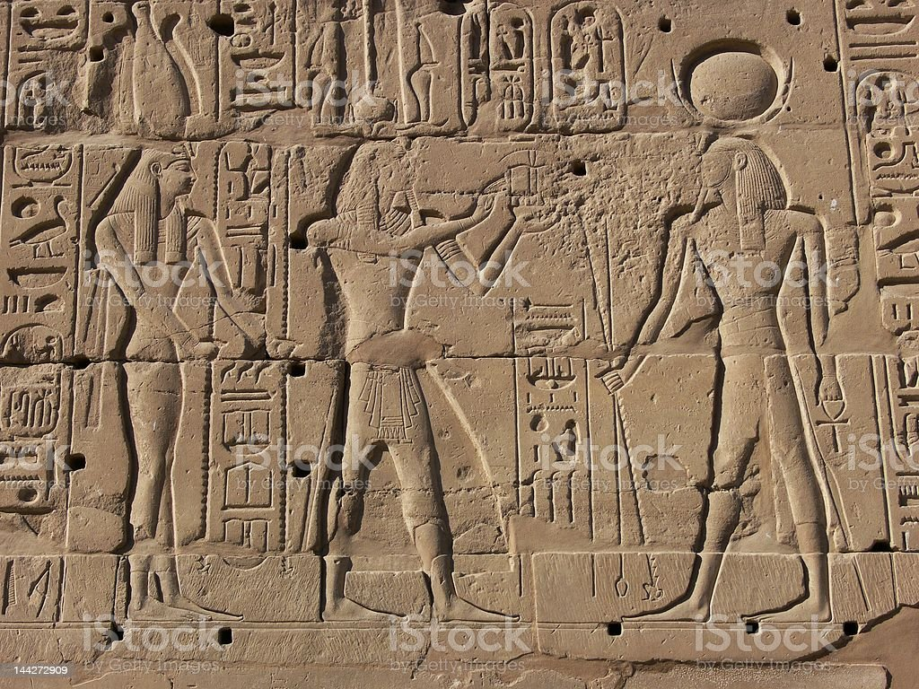 Egyptian basrelief and hieroglyphs royalty-free stock photo
