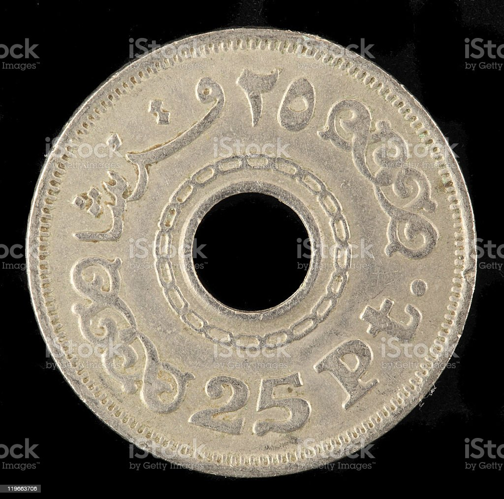 Egyptian coin stock photo