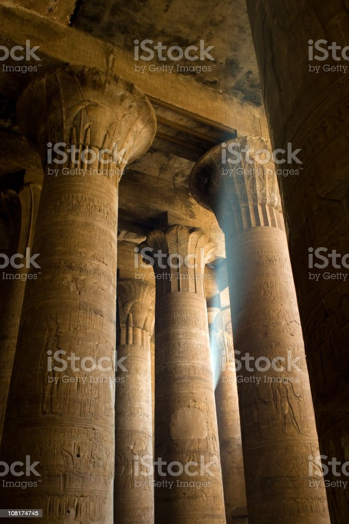 Egyptian Columns Supporting the Temple of Horus stock photo