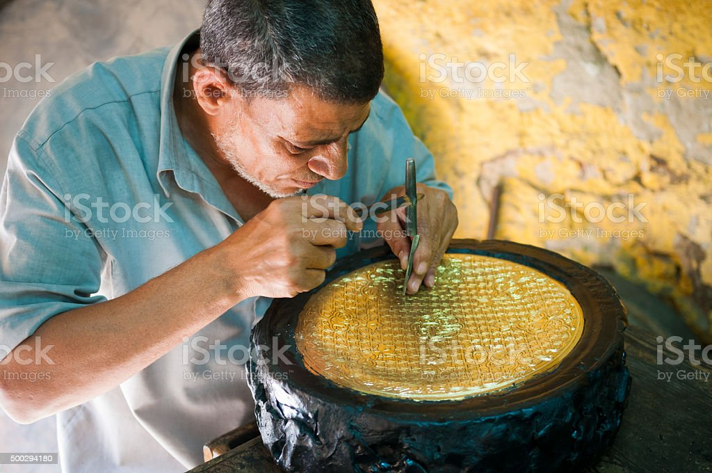 Egyptian craftsman in Cairo stock photo