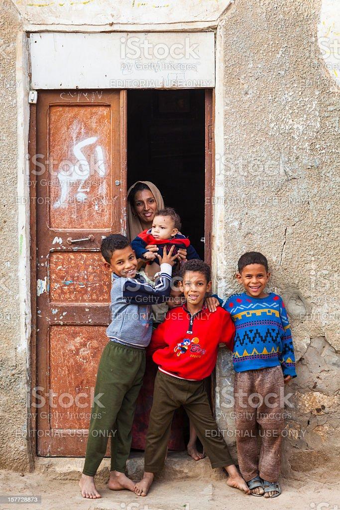 Egyptian family from El-Kharga Oasis royalty-free stock photo