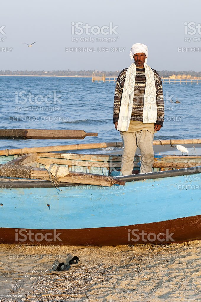 Egyptian fisherman in the Fayoum stock photo