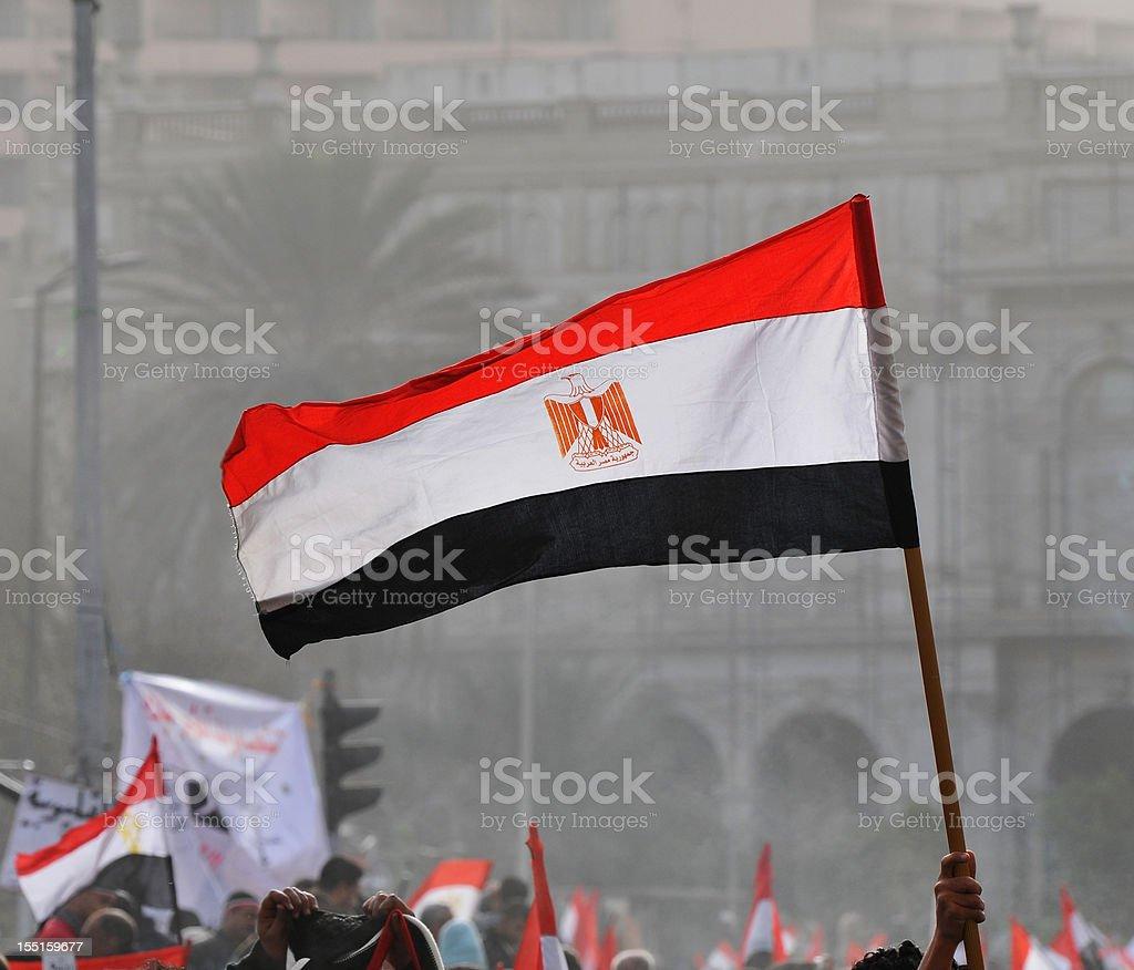 Egyptian flag in Tahrir Square stock photo
