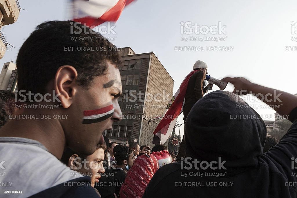 Egyptian flags and boy with face painting royalty-free stock photo