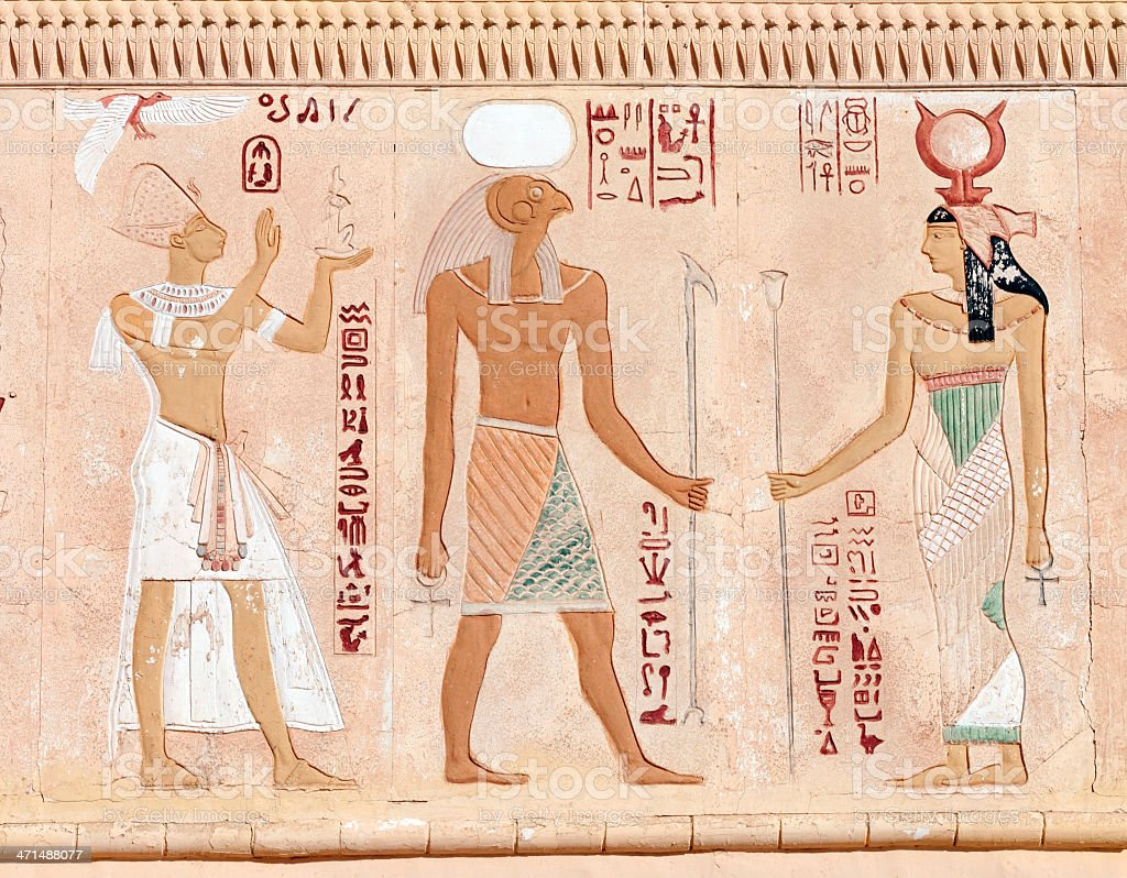 Egyptian fresco royalty-free stock photo