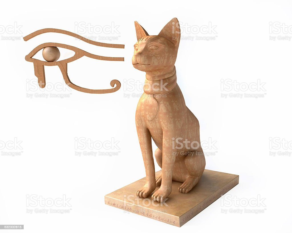 Egyptian Goddess Bastet and  Eye of Horus stock photo