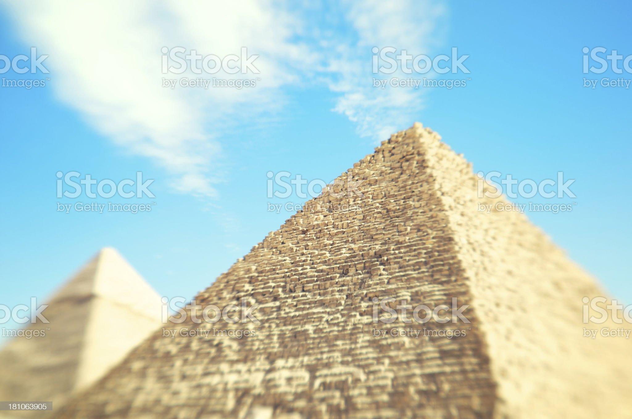 Egyptian Great Pyramids Selective Focus Bright Sky royalty-free stock photo