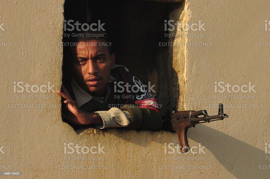 Egyptian guard with a gun stock photo