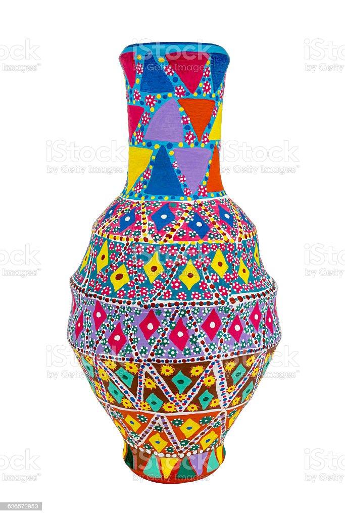 Egyptian handmade decorated colorful pottery vase (Kolla) stock photo