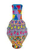 Egyptian handmade decorated colorful pottery vase (Kolla)