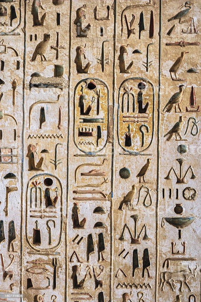 Egyptian hieroglyphics in Karnak Temple near Luxor royalty-free stock photo