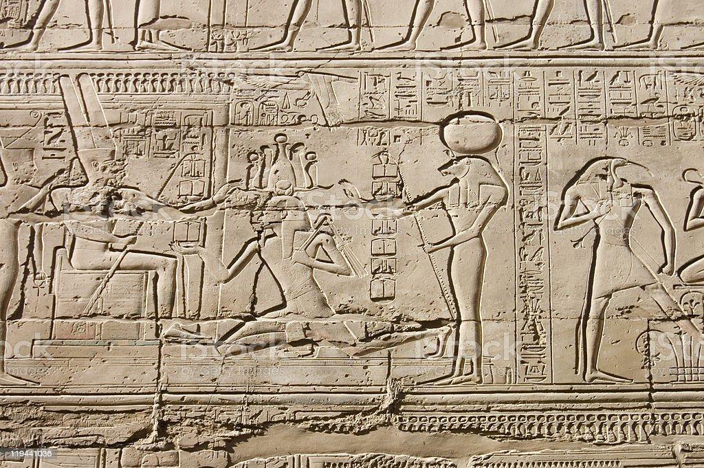 Egyptian hieroglyphs. Pattern from Karnak Temple, location: Luxor, Egypt royalty-free stock photo