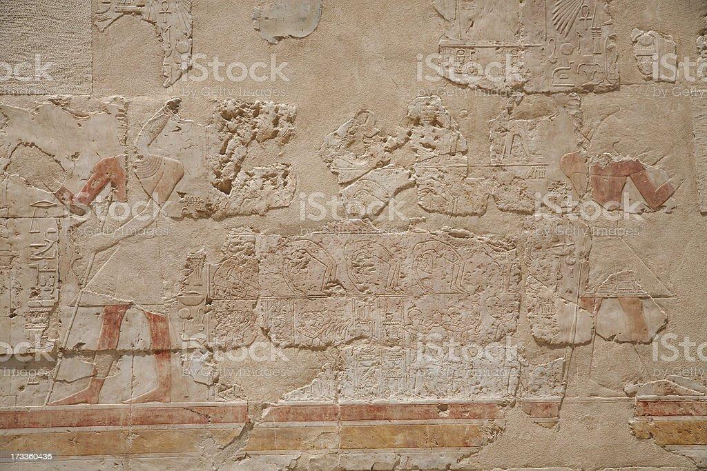 Egyptian Hieroglyphs : Temple of Hatshepsut stock photo