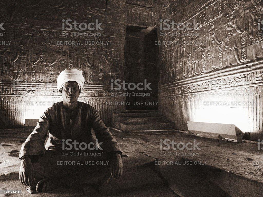 Egyptian Man at Temple of Horus in Edfu stock photo