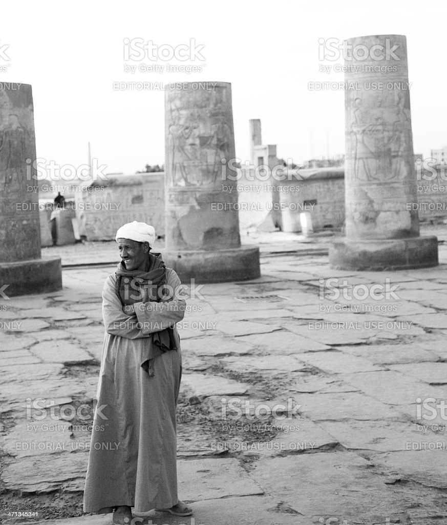Egyptian Man at Temple of Kom Ombo stock photo