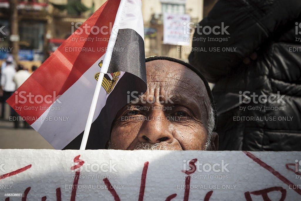 Egyptian man on Tahrir stock photo