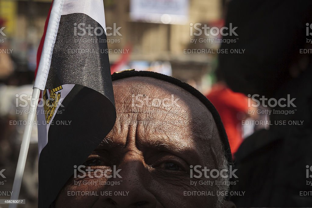 Egyptian man on Tahrir Square stock photo