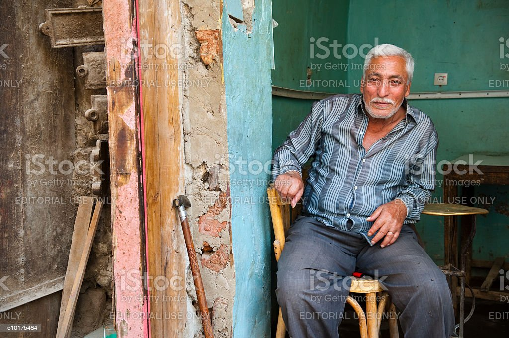 Egyptian man sitting at cafe in Cairo stock photo