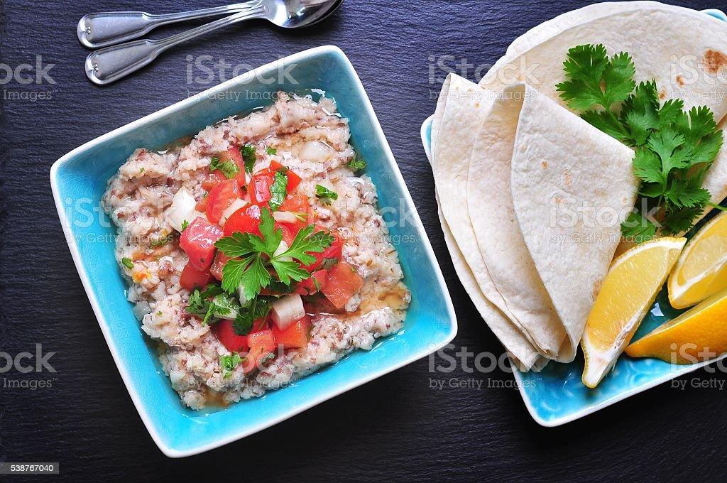 Egyptian mashed fava beans with olive oil, lemon juice stock photo