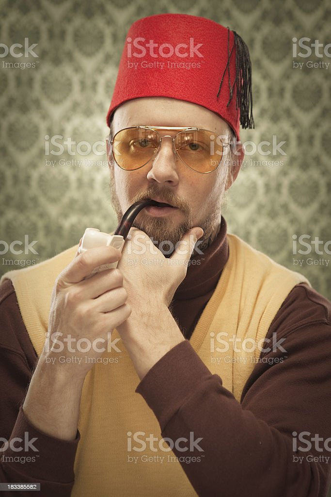 Egyptian Masonic Man vintage holding pipe in mouth & Glasses stock photo