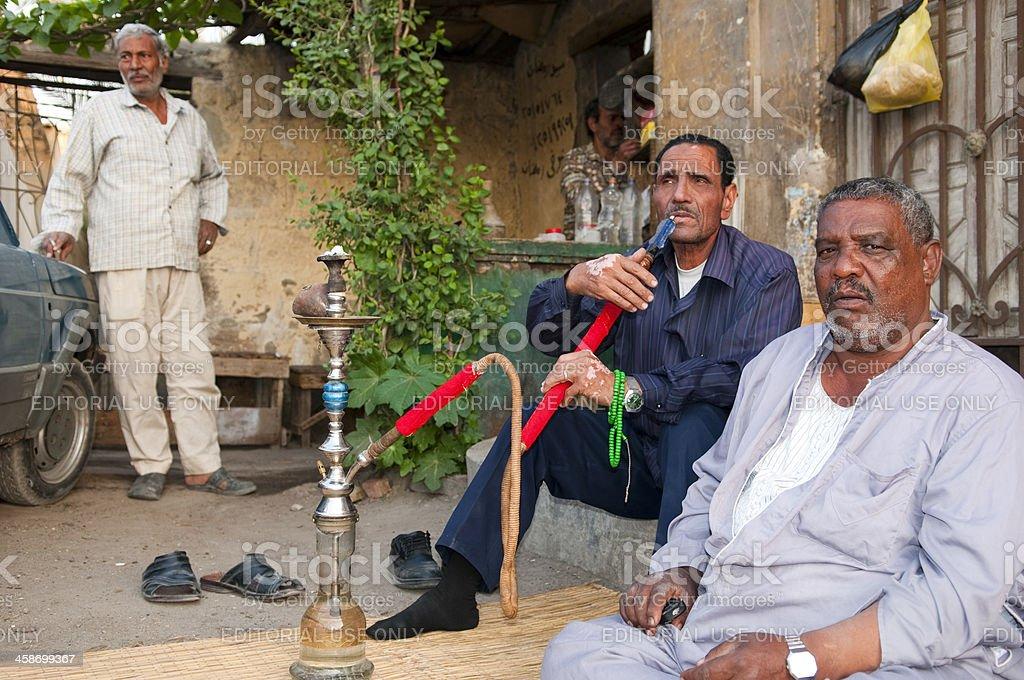 Egyptian men and shisha stock photo