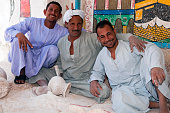 Egyptian men at alabaster factory in Luxor, Egypt