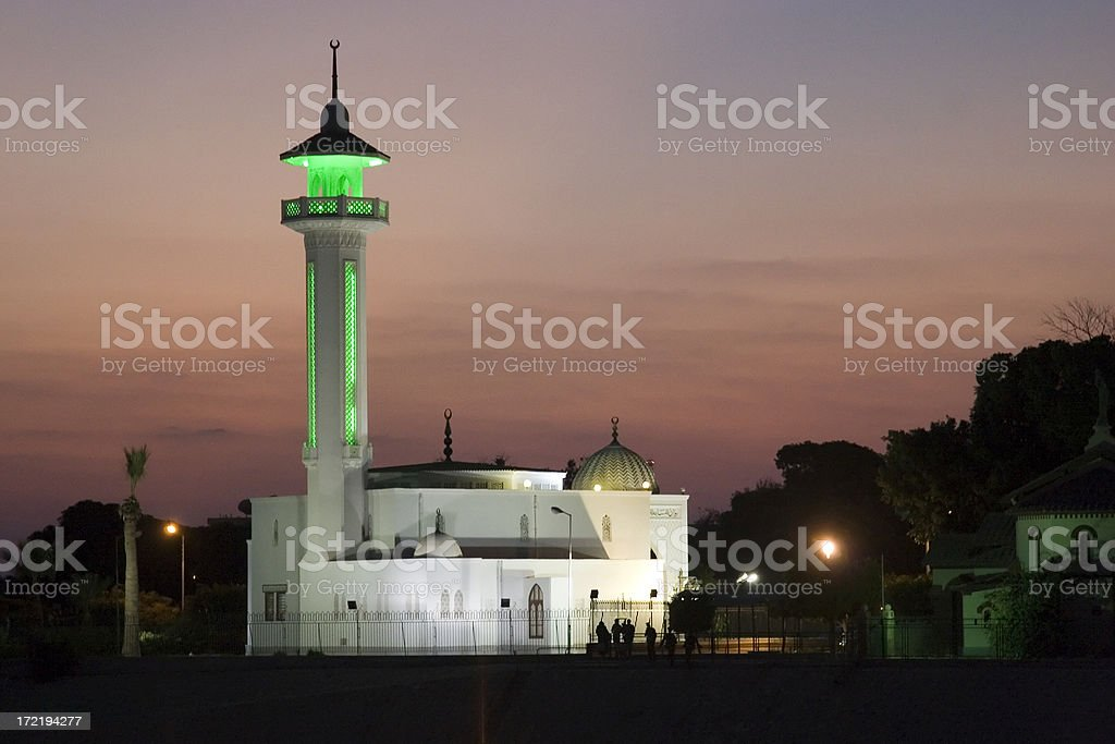 Egyptian mosque at night royalty-free stock photo