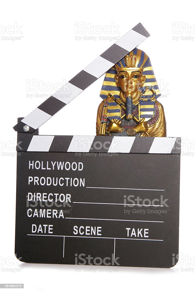 Egyptian mummy with movie clapper royalty-free stock photo
