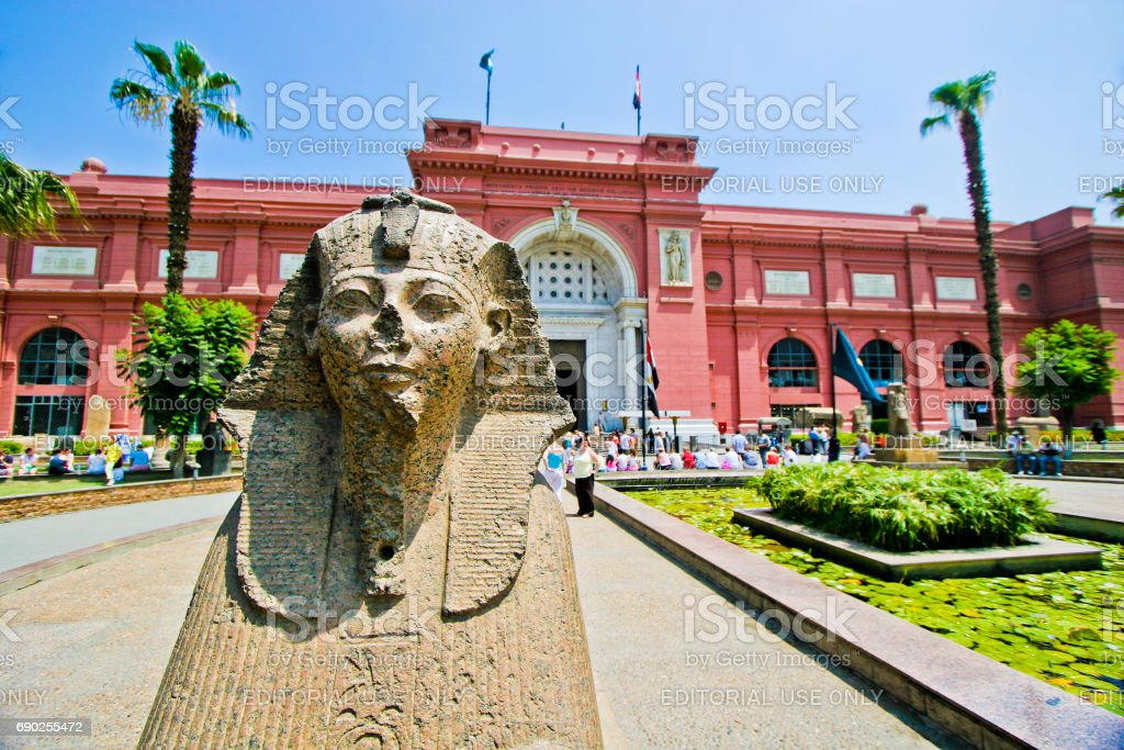 Egyptian Museum in Cairo, tourists come through the main entrance stock photo