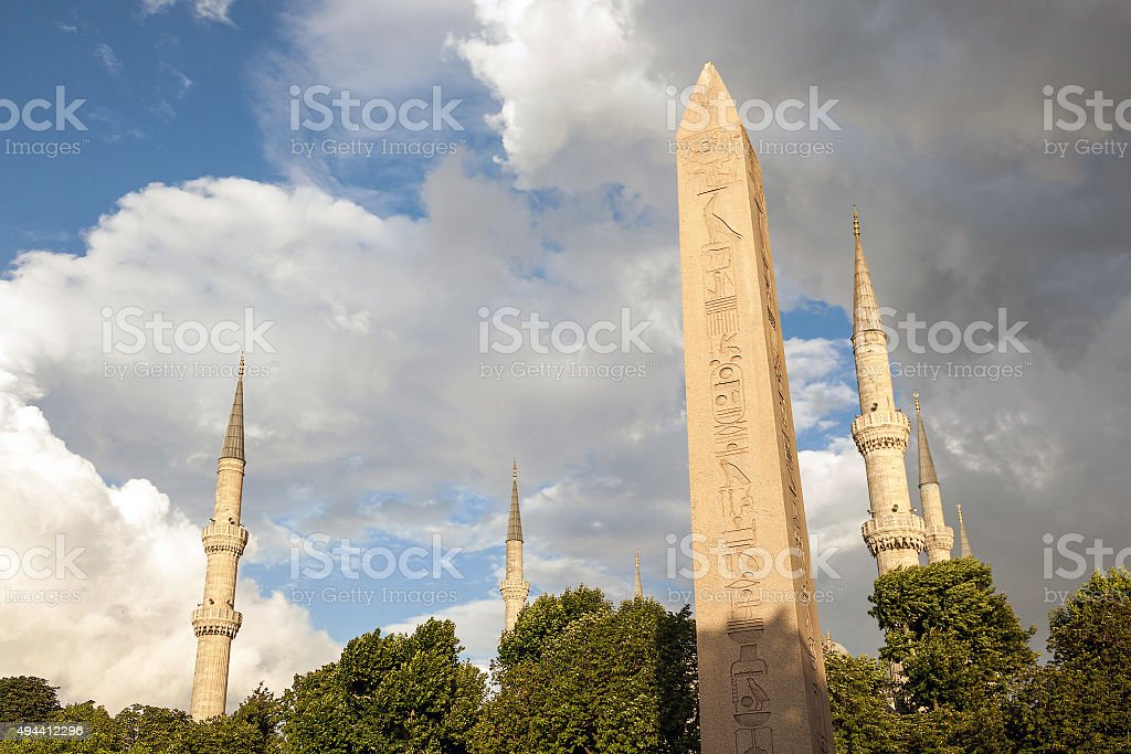 Egyptian Obelisk and minarets of Blue mosque in Sultanahmet square stock photo