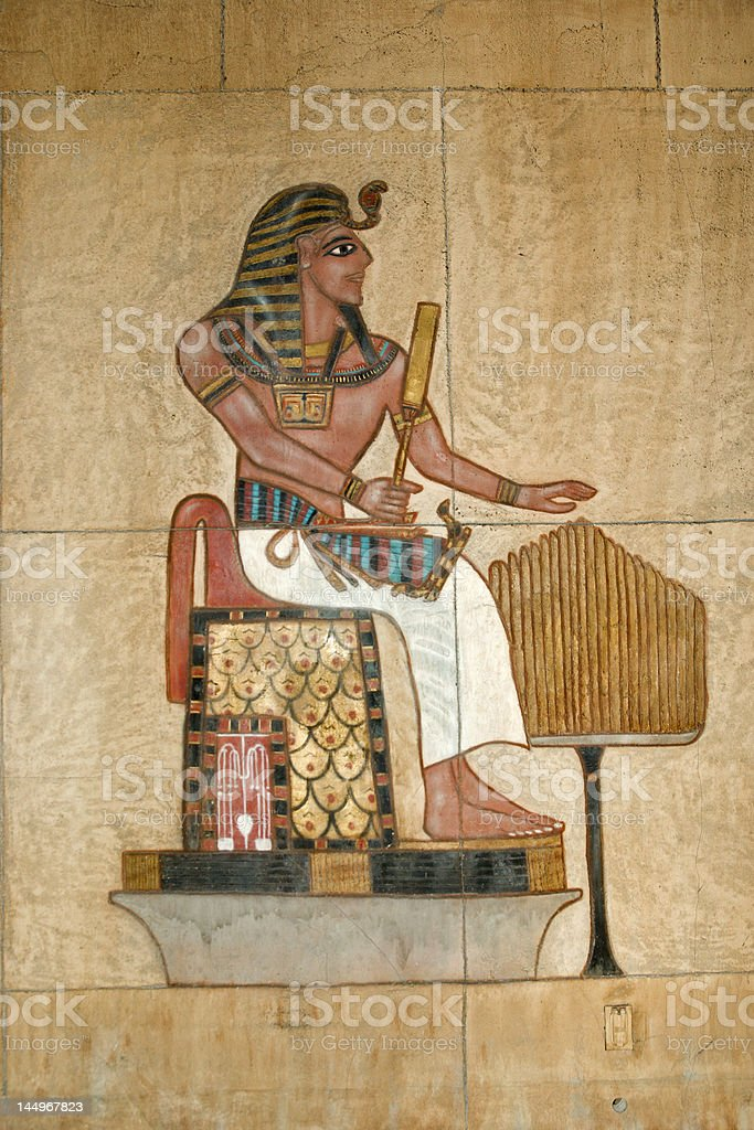 Egyptian painted relief royalty-free stock photo