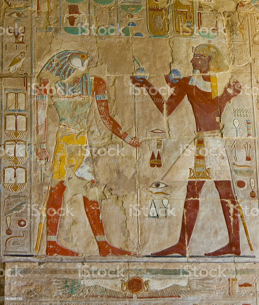 Egyptian painted wall royalty-free stock photo