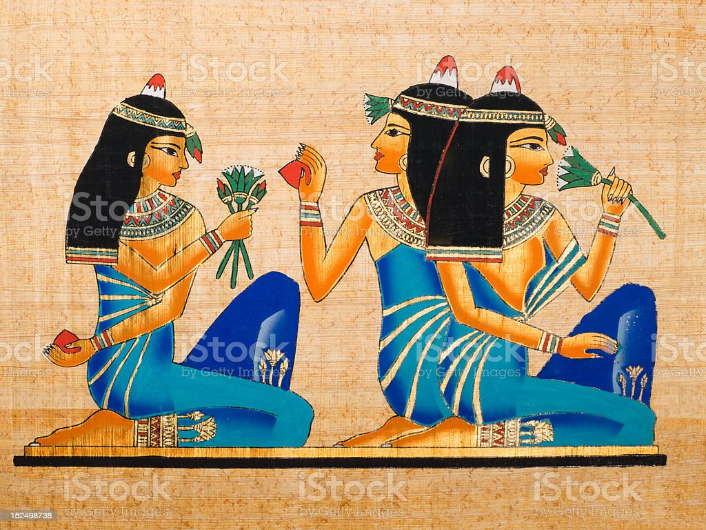 Egyptian papyrus showing a banquet scene. stock photo
